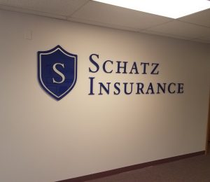 Custom Lobby Sign Schatz Insurance