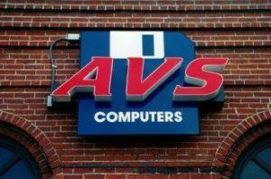 AVS Computers custom cabinet backlit sign