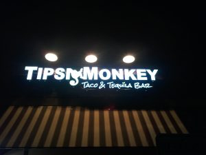 Tipsy Monkey Lighted Storefront LED Sign